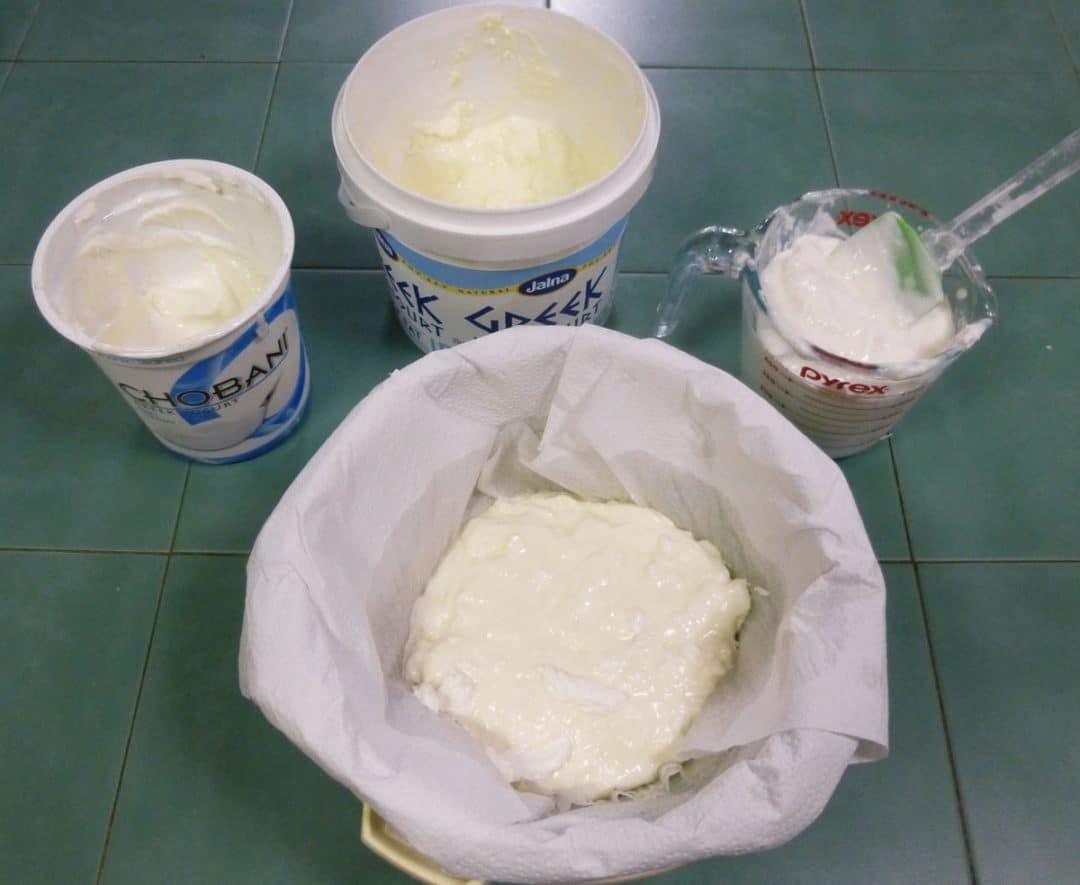 Draining yoghurt to make low fat frozen yoghurt