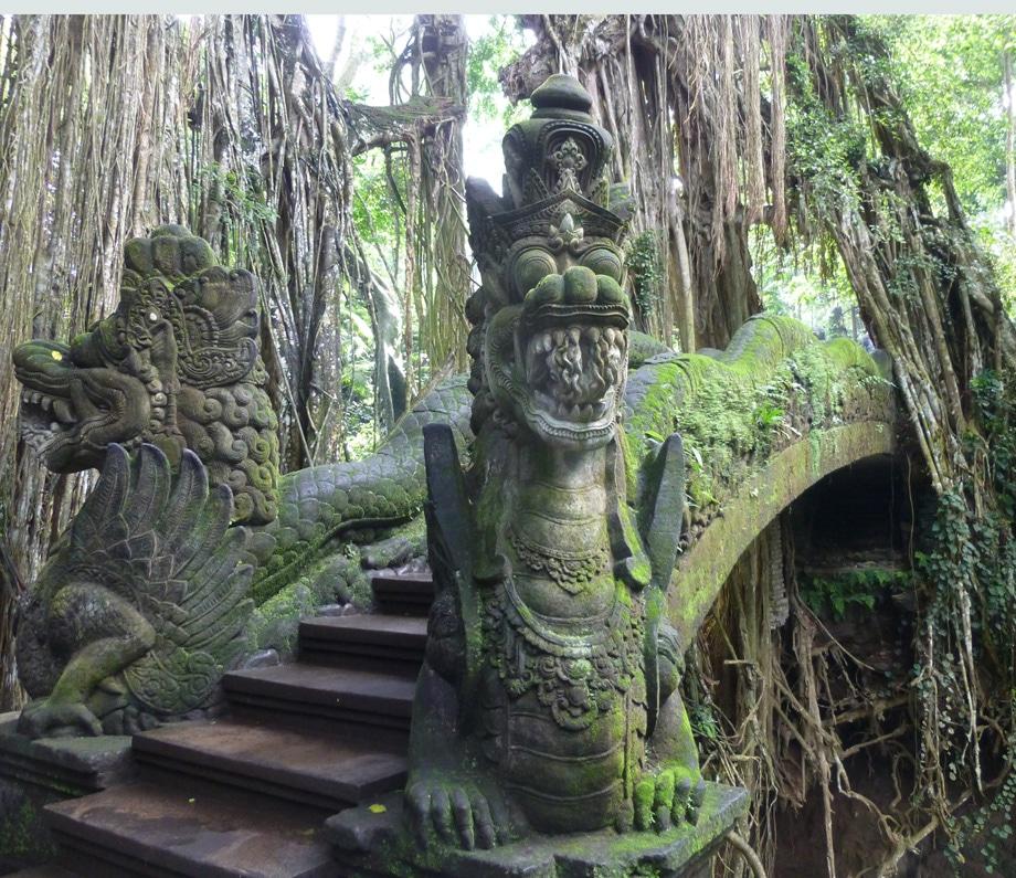 Stone Serpents Guard Bridge in Monkey Forest in Ubud, Bali