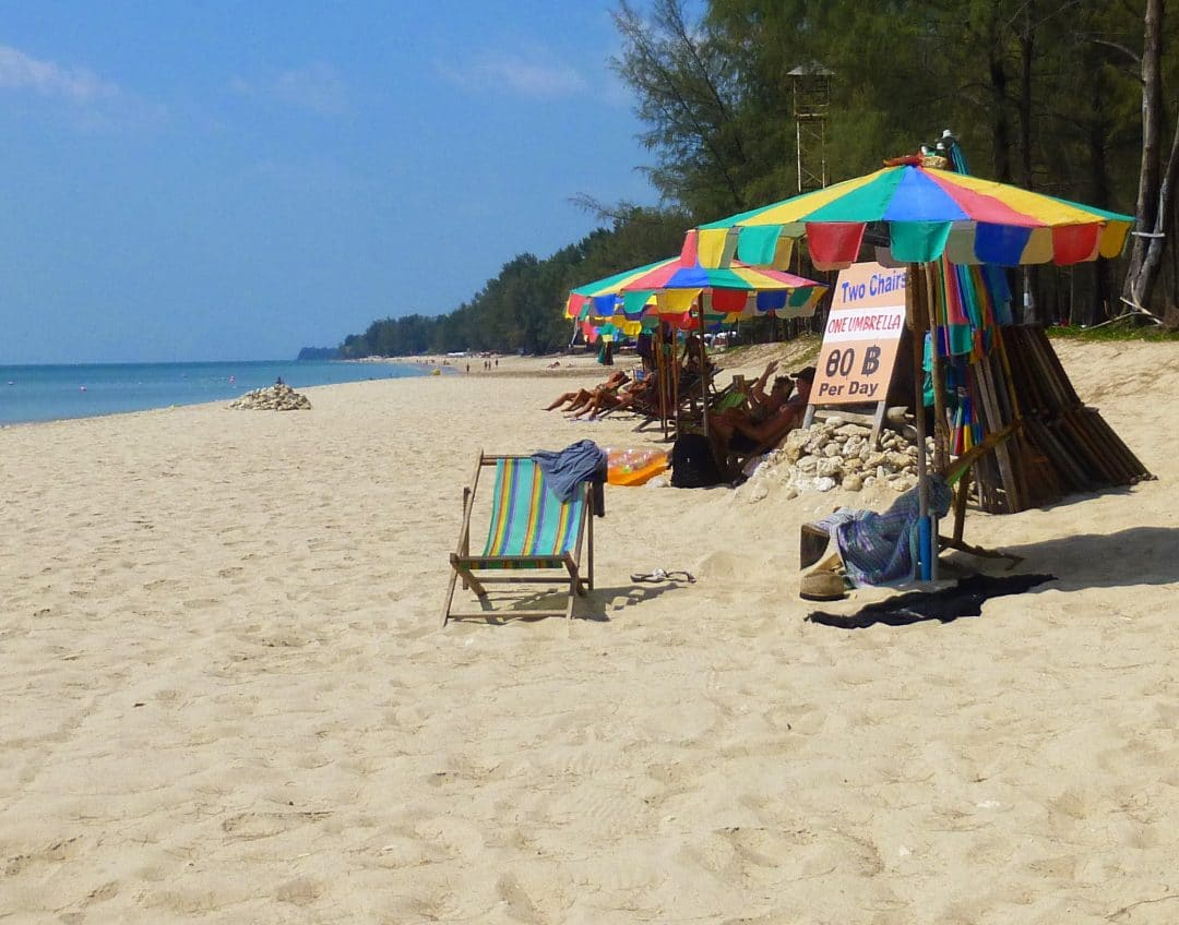 Beach Umbrellas on Phra Ae Beach in Ko Lanta, Thailand