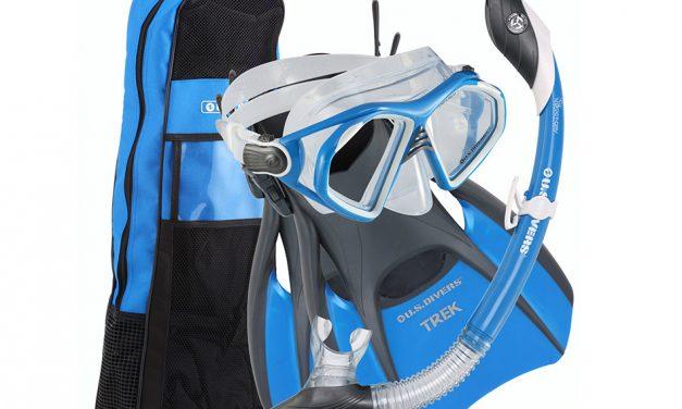 US Divers Men's Snorkel Set- Mask, Snorkel, Fins, Bag
