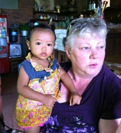 Laurie and Mira in Warung in Ubud, Bali