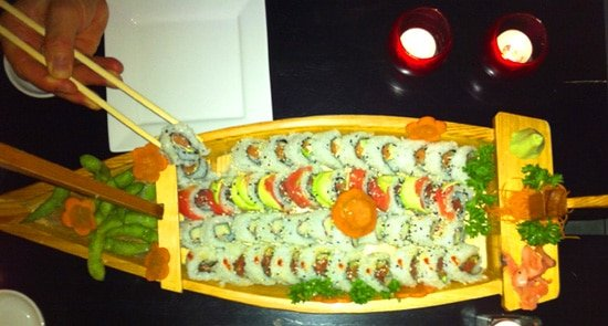 Sushi boat at Kappa Sushi in La Fortuna