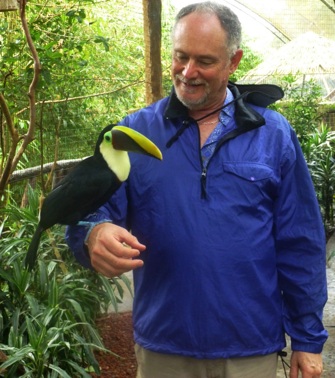 Toucan and Neil in La Paz Waterfall Gardens, Costa Rica