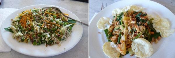 Bali foods Waru-Lawar-Salad+Gado-Gado