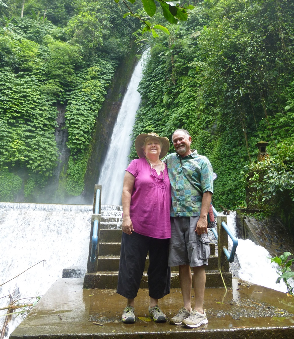 Laurie and Neil at the Waterfall in Munduk