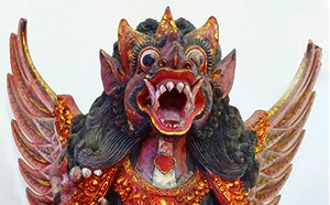 Balinese Wood Carving of Winged Lion