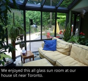 Inside the sun room of our house sit near Toronto Canada