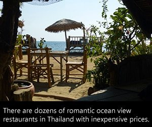 Romantic ocean view restaurant in Thailand
