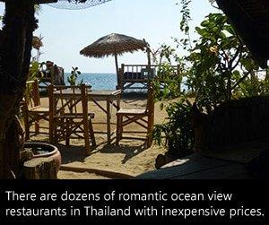 Romantic ocean view restaurant in Thailand