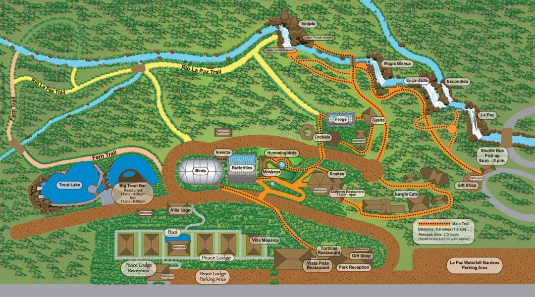 waterfall gardens costa rica map
