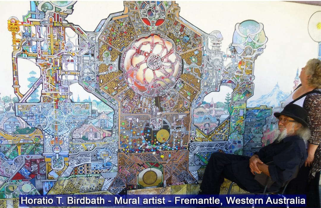 Horatio T. Birdbath wall artist, Fremantle, Australia