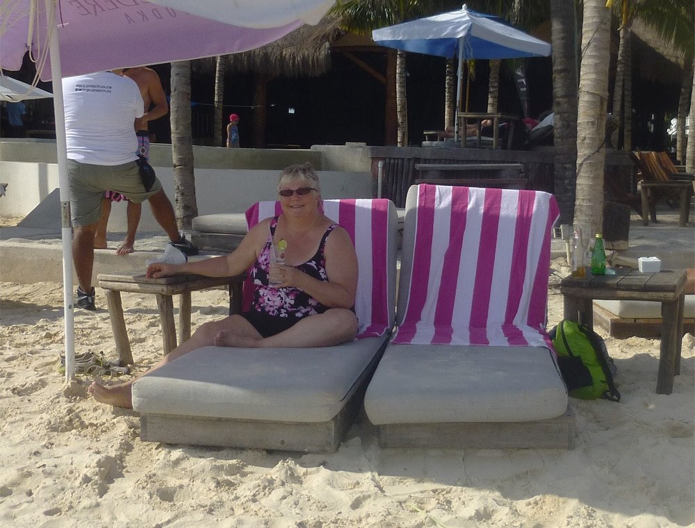 Laurie's birthday at Blue Parrot Beach Club in Playa Del Carmen, Mexico