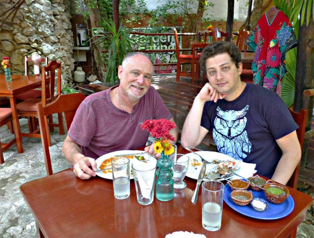 Neil and son at El Jardin restaurant in Playa Del Carmen, Mexico
