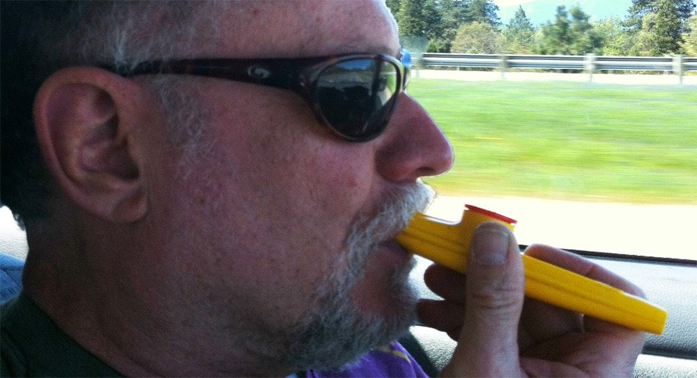 Neil with kazoo on cross country drive