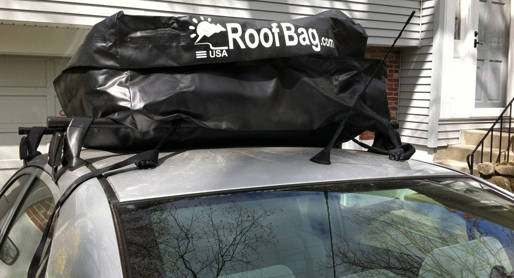 Toyota with roof bag after cross country trip