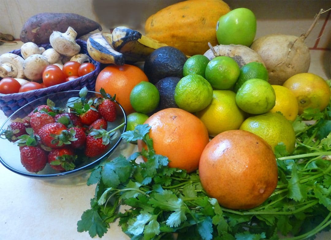 Fruits and veggies from the small grocery stores in La Peñita del Jaltemba, Mexico