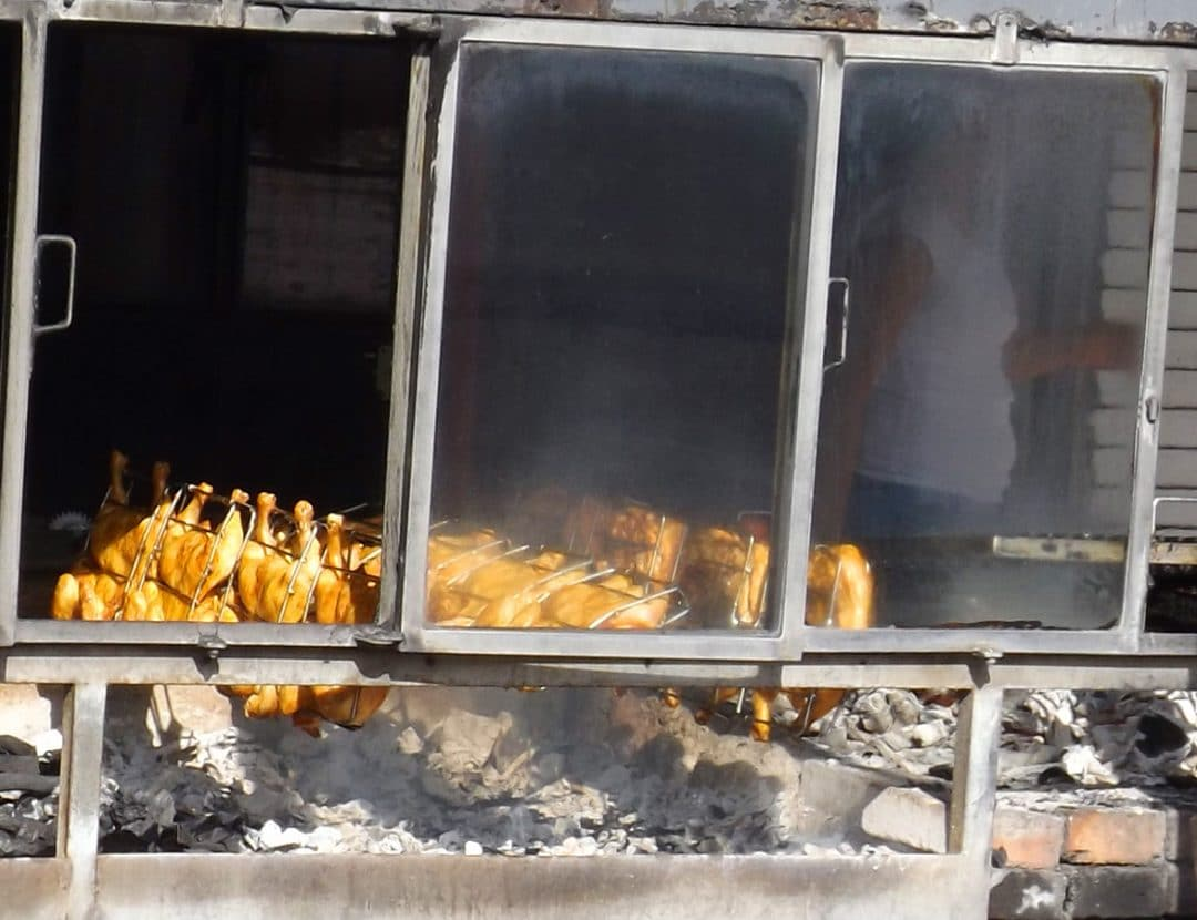 Barbecued chickens on the rotisserie in La Peñita del Jaltemba, Mexico